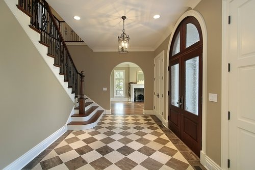 Image Of Large Home Foyer With Natural Stone Tile Floor From Flooring Portland - Macadam Floor And Design