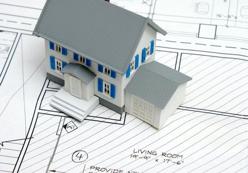 Image Of Blue And White Home Model And Sketch Designed For Remodeling - Macadam Floor And Design
